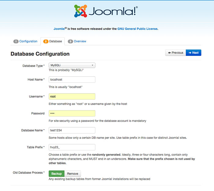 joomla installation checking server