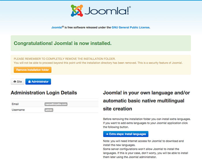 joomla installation sample data installed