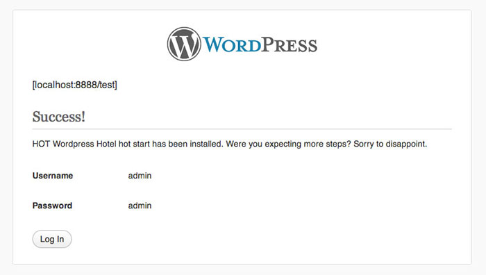 wordpress installed successfully