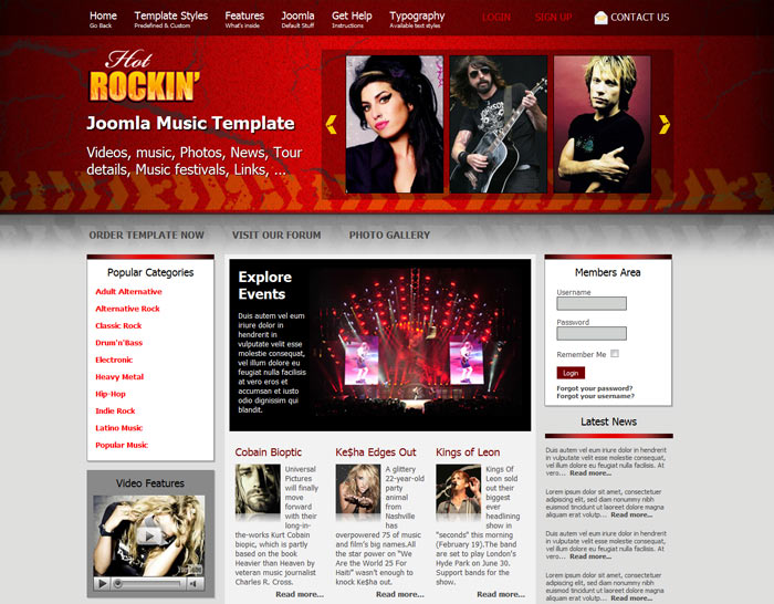 Music Joomla Templates Joomla Music Template - Hot Rockin - HotThemes