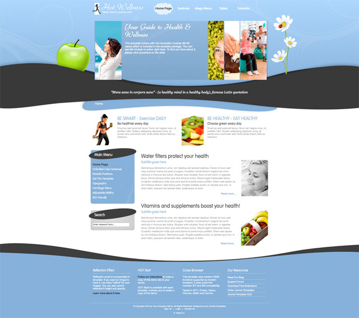Joomla Wellness Template - HOT Wellness J1.5 & J1.6