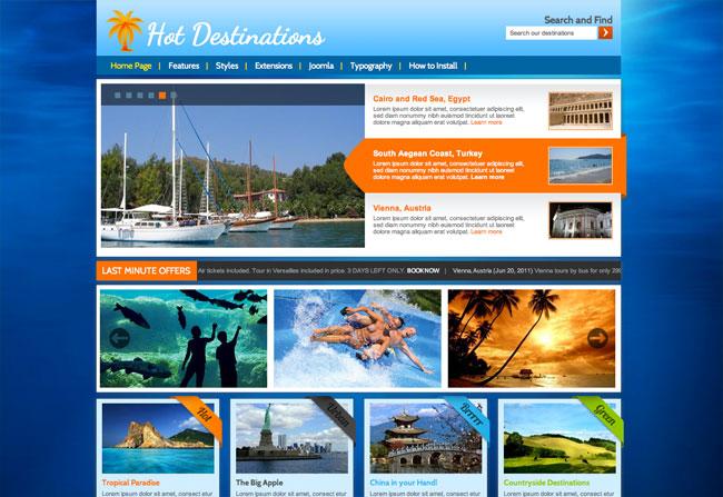 Joomla Travel Template Hot Destinations Hotthemes