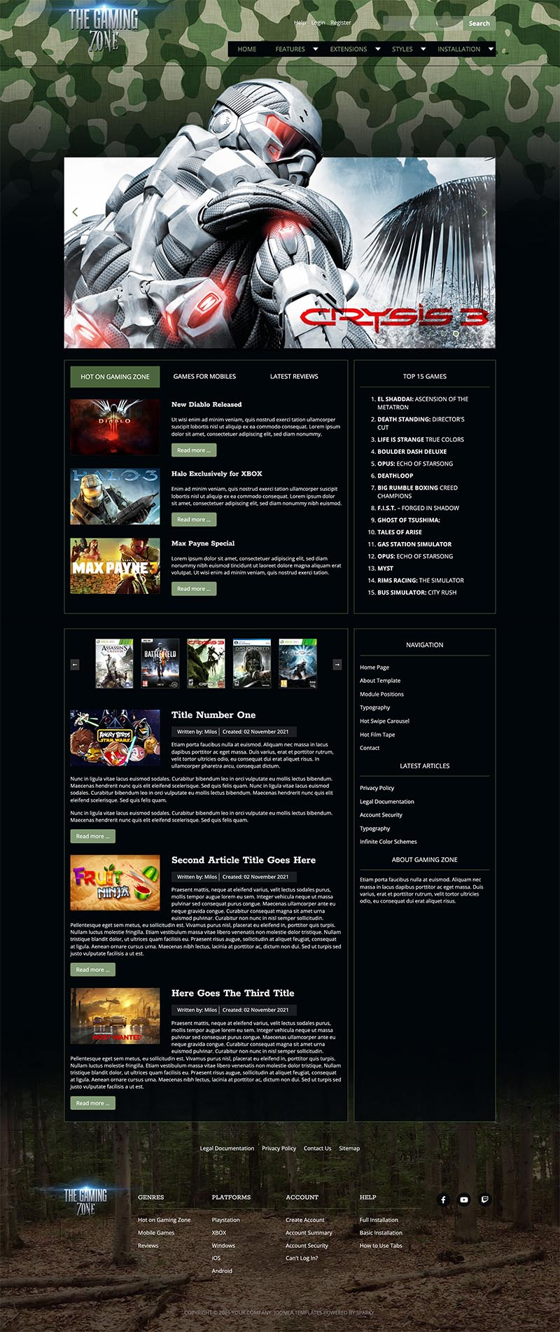 Gaming Zone Joomla Games Template