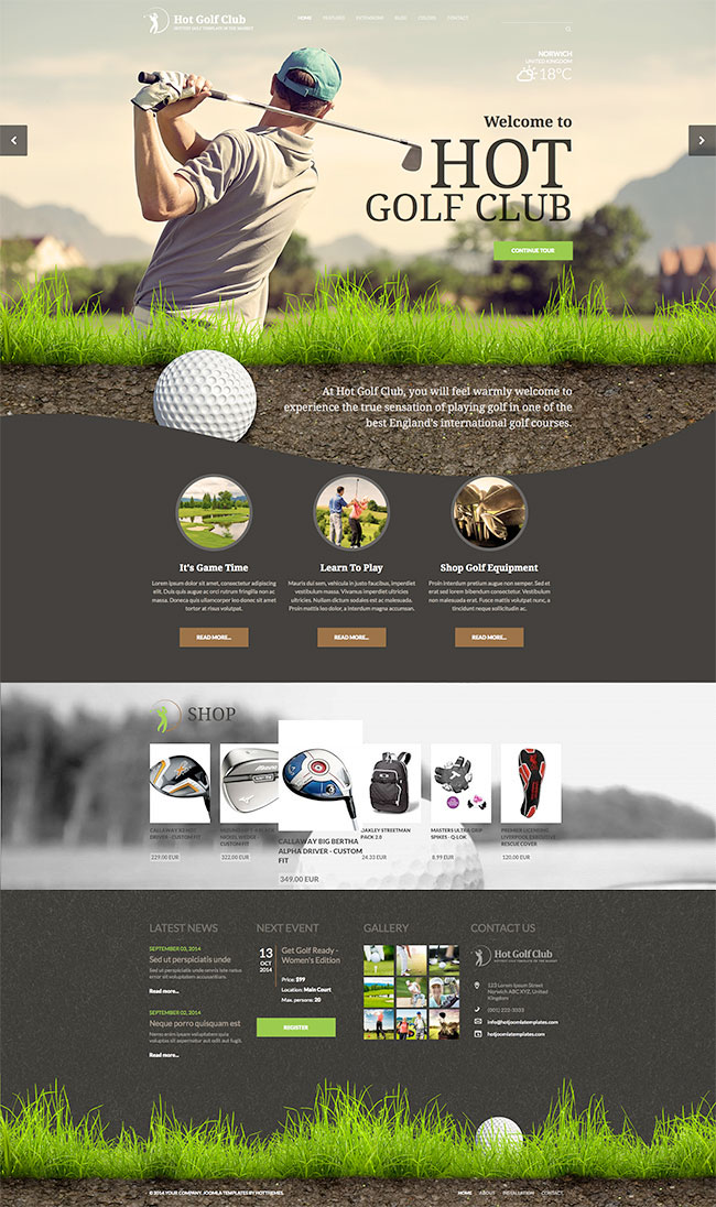 responsive golf template. Black Bedroom Furniture Sets. Home Design Ideas