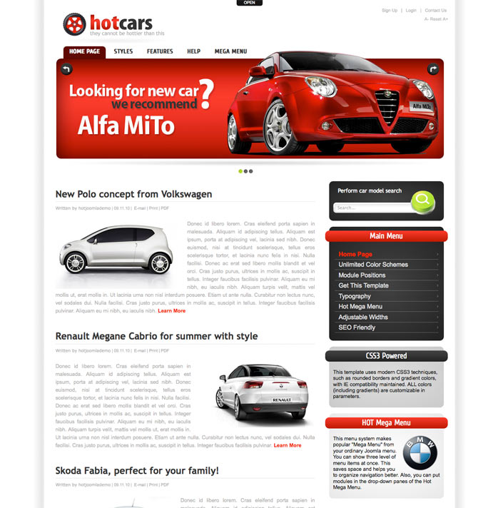 Hot Cars Theme for WP Image 1