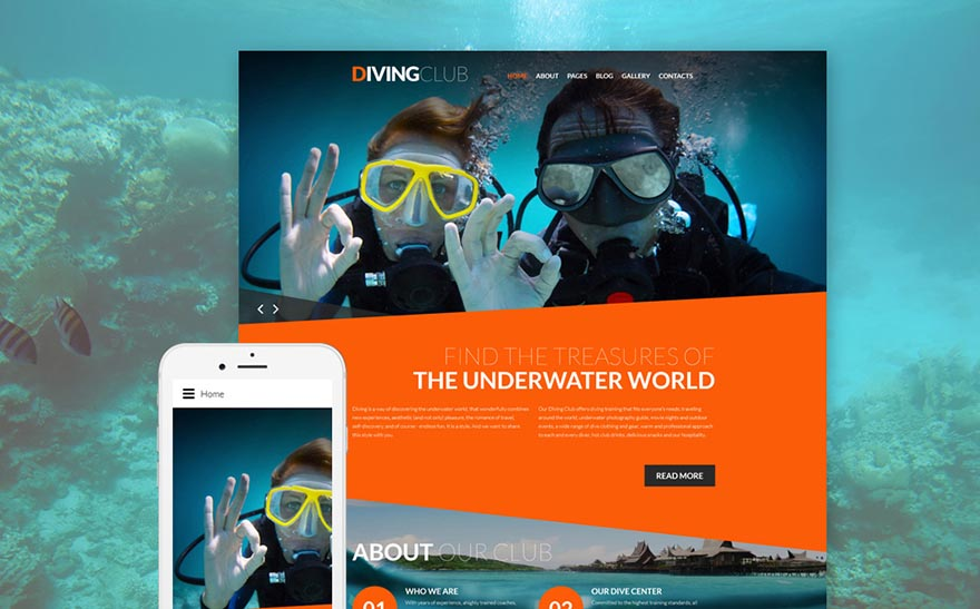 Diving Club Sports & Outdoors Responsive Joomla Template