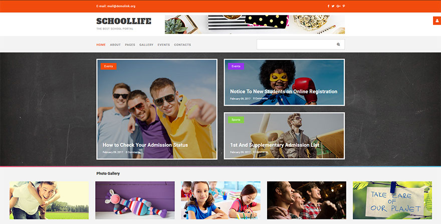 Joomla Template for a School Blog