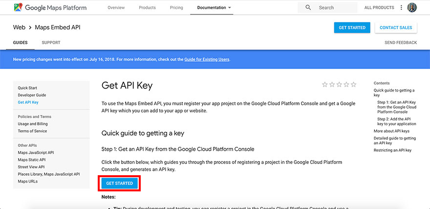 Obtain Google Maps API from Google.com - Step 1