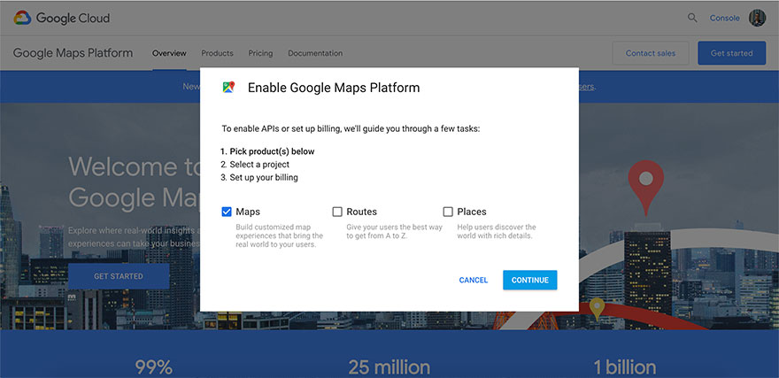 Obtain Google Maps API from Google.com - Step 2