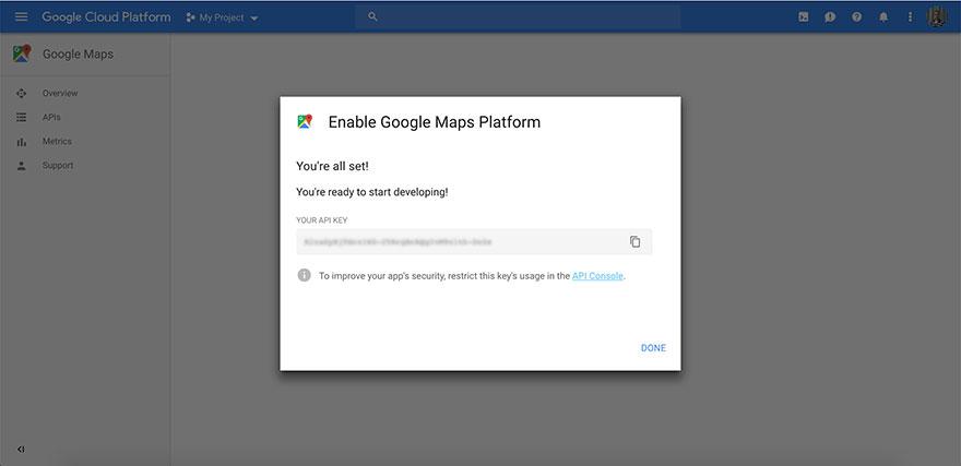 Obtain Google Maps API from Google.com - Step 5