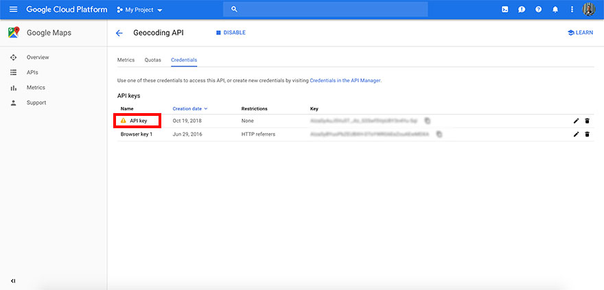 Securing Google Maps API key - Step 3
