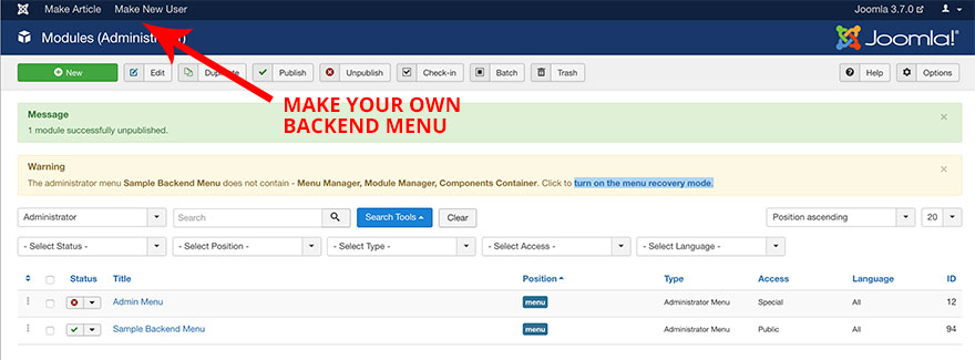 Joomla backend menu editor