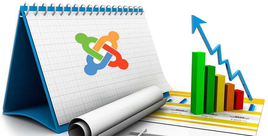 Business analysis graphic with Joomla logo