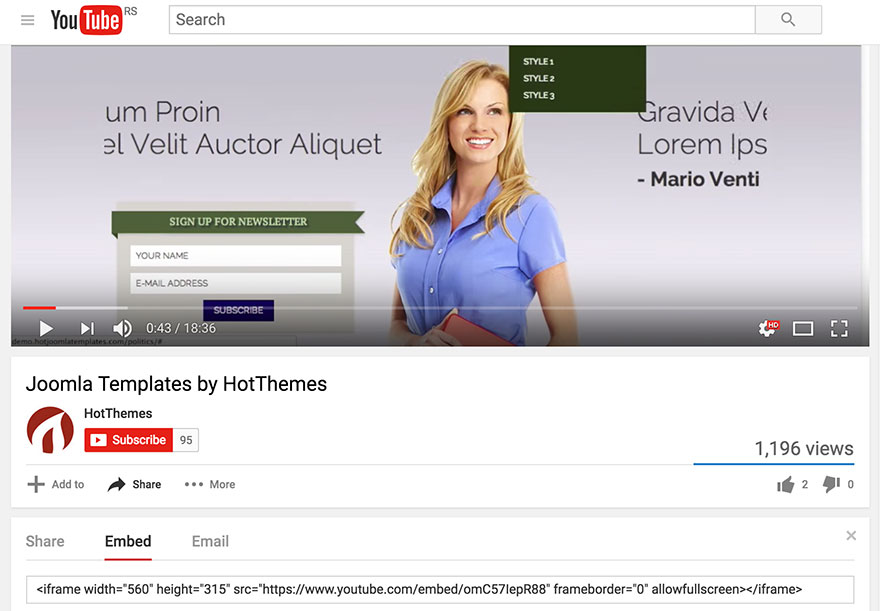 YouTube Video in Joomla