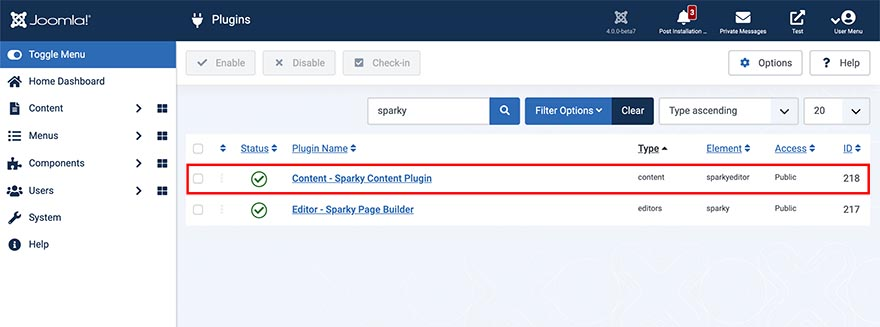 Sparky Content Plugin Published