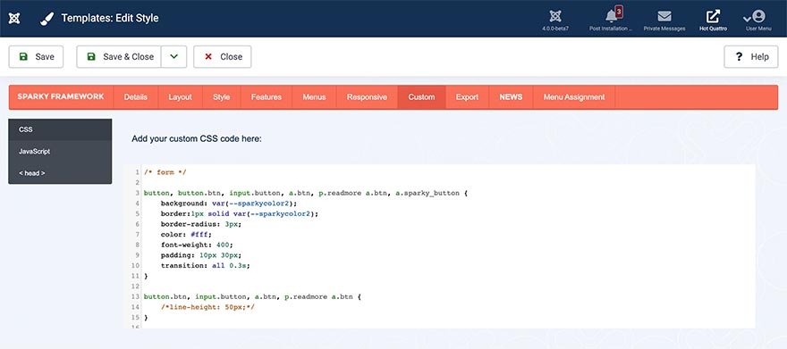 Pane for Custom CSS Code