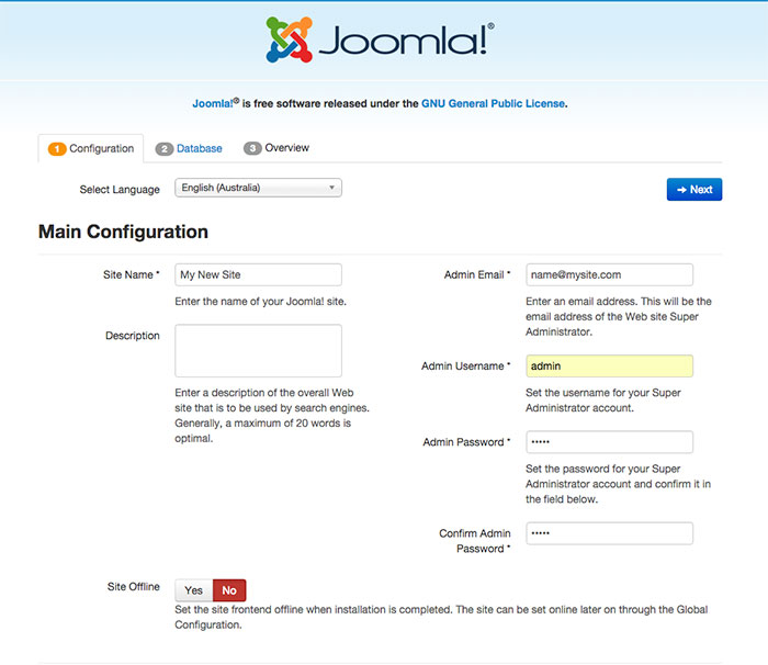 Starting Joomla installation