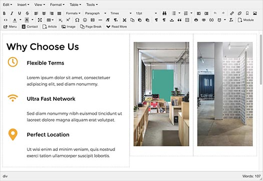 Edit content of Coworking template visually