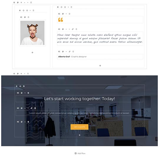 Edit content of Coworking template visually with Page Builder