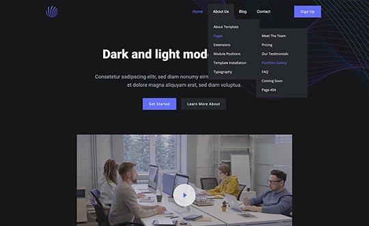 Drop-down multilevel menu in the Dark Mode template