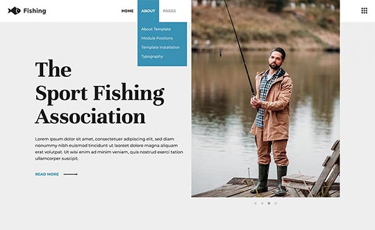 Drop-down and Off-canvas menus in the Fishing template