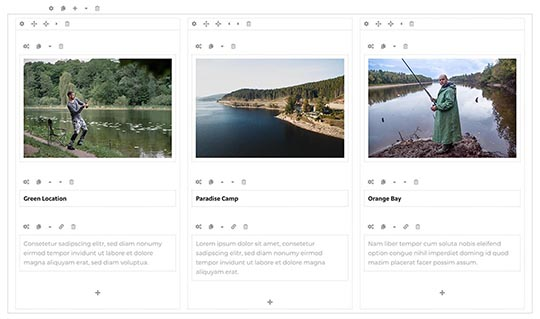 Page builder for Fishing template