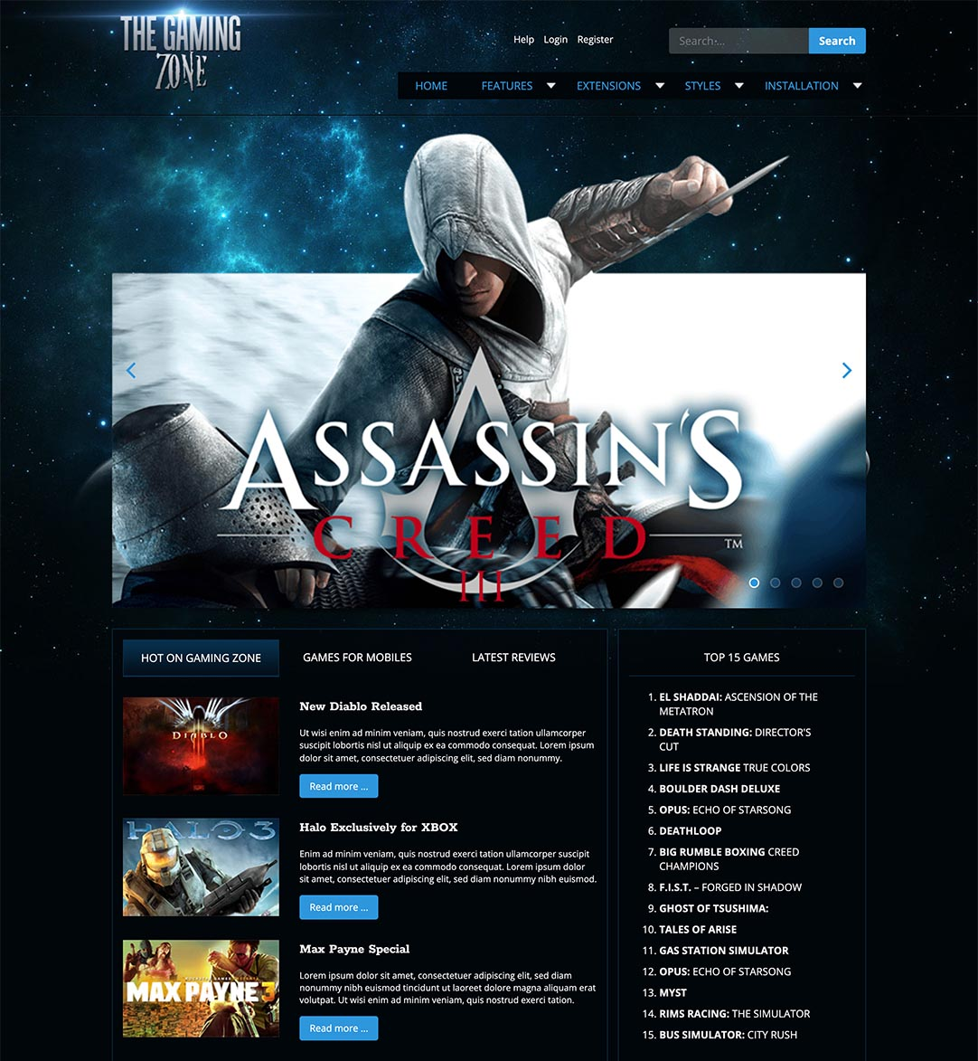 Gaming website template