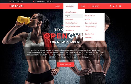Drop-down multilevel menu in the Gym template