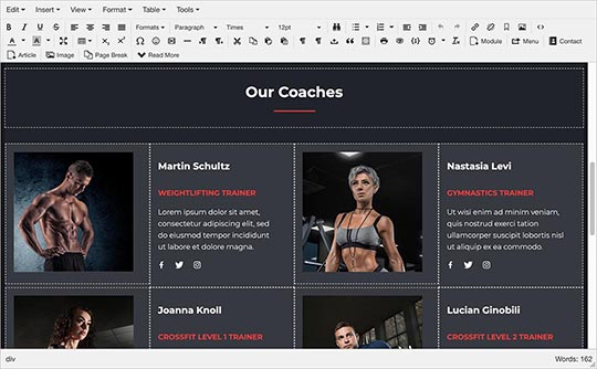 Edit content of Gym template visually