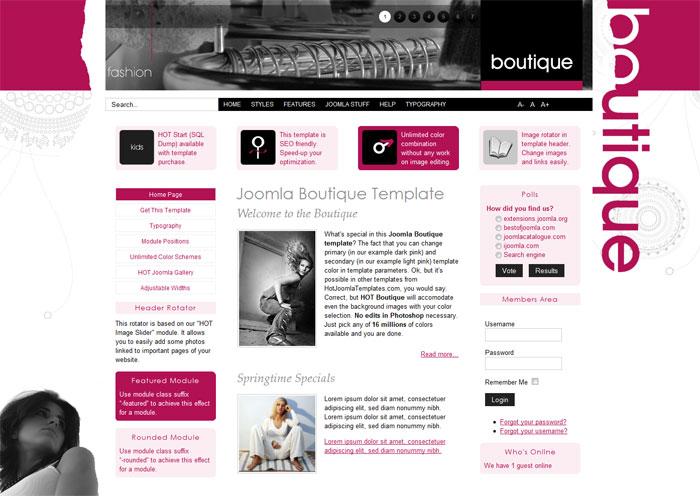 Joomla Boutique Template - Hot Boutique - HotThemes