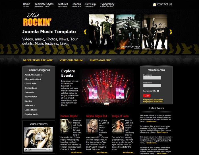 Joomla Music Template - Hot Rockin - HotThemes