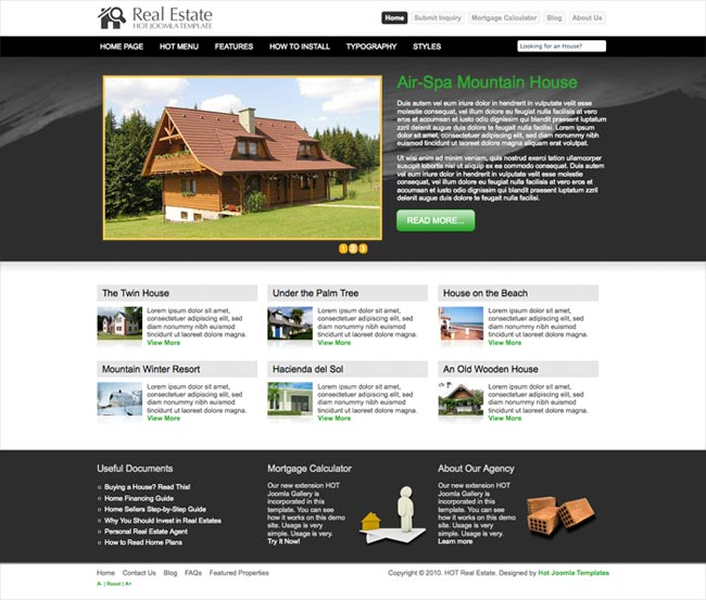 Joomla real estate template hot real estate hotthemes for Real estate craigslist template