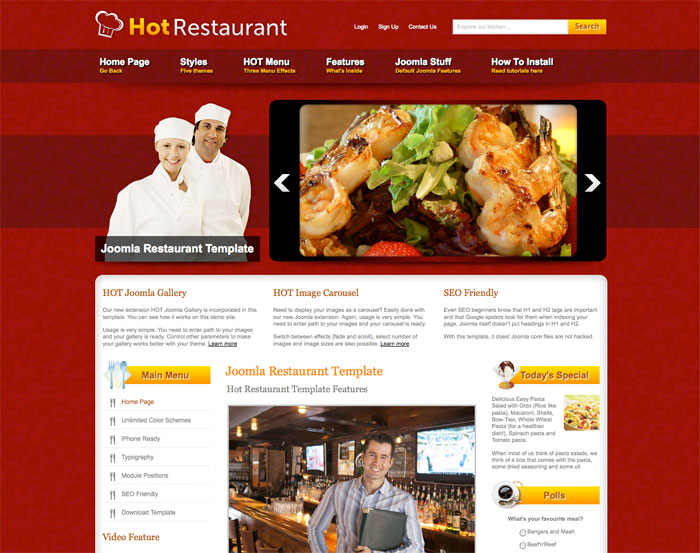 Italian Food Restaurant Names: Joomla Restaurant Template