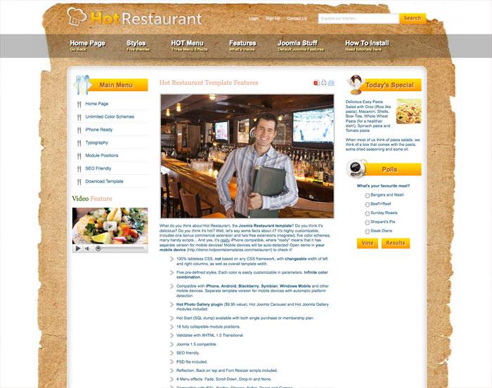 Joomla Restaurant Template Hot Restaurant Hotthemes