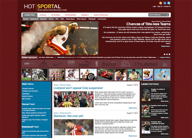 Joomla Sports Template - Hot Sportal - HotThemes