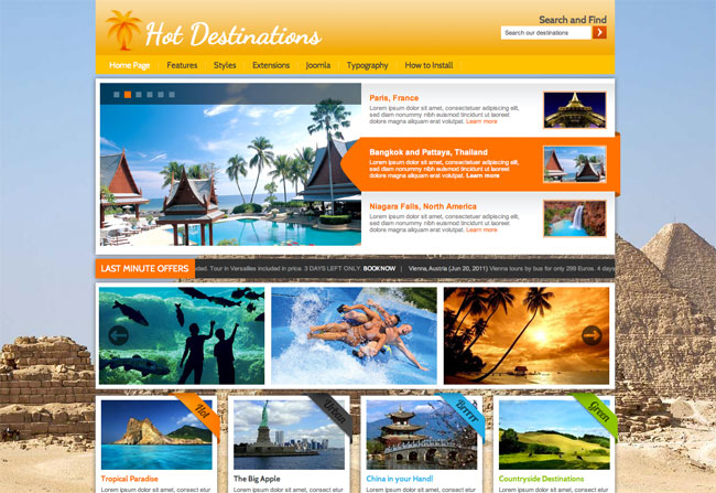 Joomla Travel Template - Hot Destinations - HotThemes