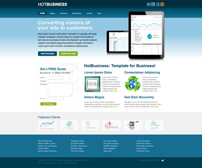 Joomla business template hot business hotthemes template screen shot 1 wajeb Gallery