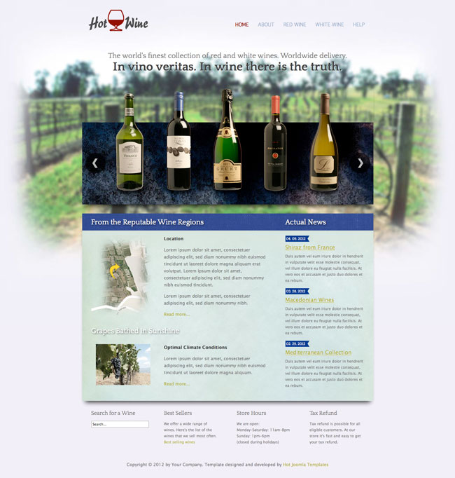 Hot wine joomla wine template hotthemes template screen shot 1 template screen shot 2 pronofoot35fo Gallery