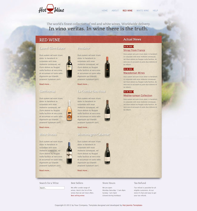 Hot Wine  Joomla Wine Template  Hotthemes