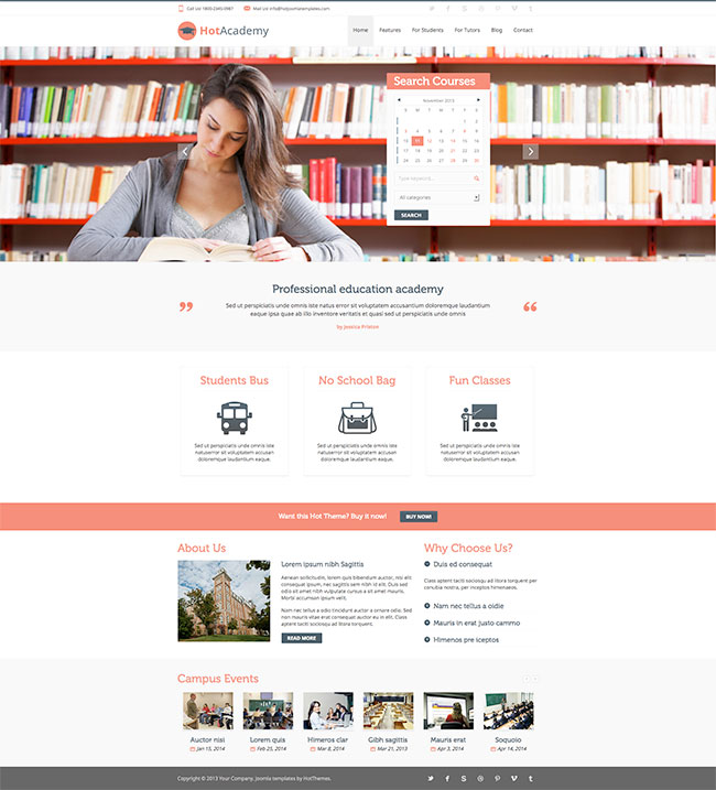 Joomla Education Template - Academy - Joomla Templates - HotThemes