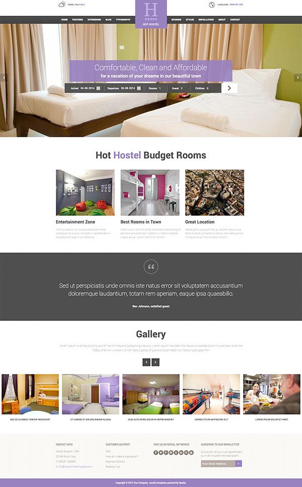 Joomla Hostel Template - HotThemes