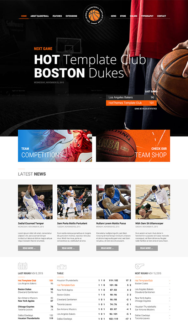 basketball template hotthemes