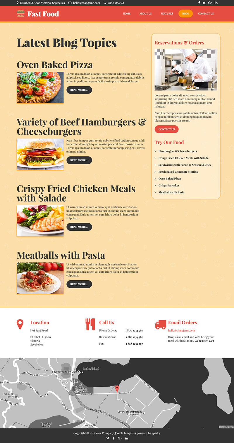 Fast Food Template - HotThemes