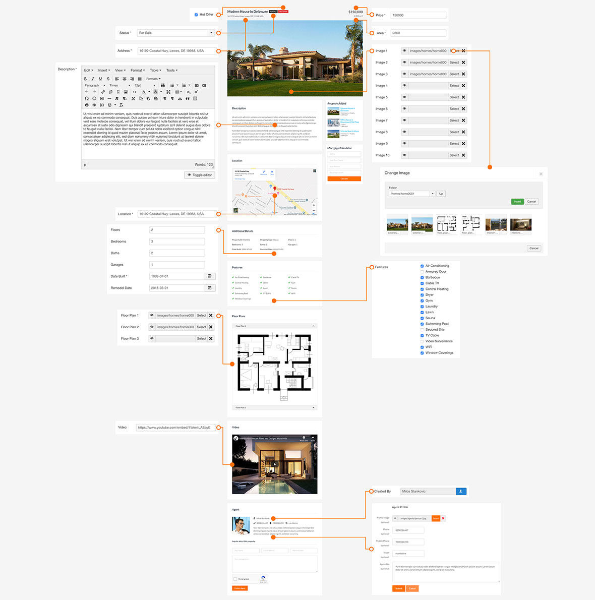 Property Details in Real Estate Template