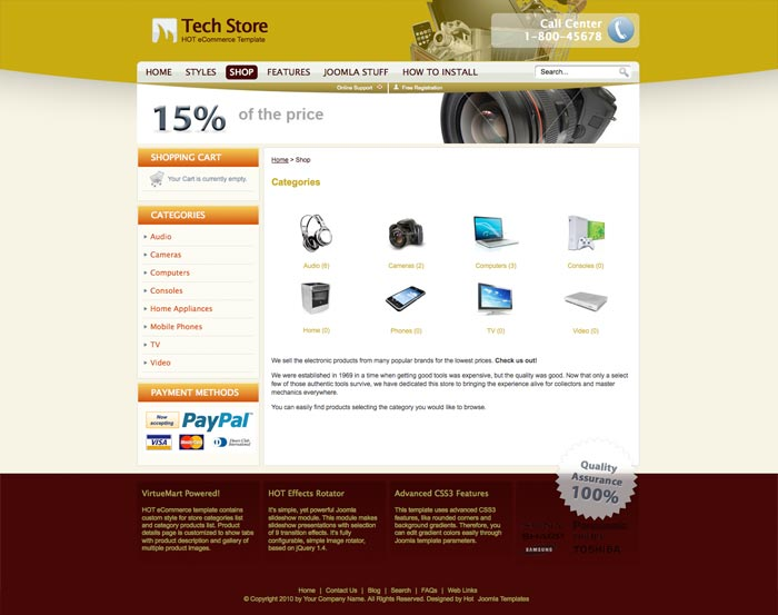 Joomla eCommerce Template - Hot eCommerce - HotThemes