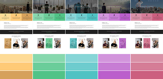 Color schemes of the Marketing Agency Joomla template