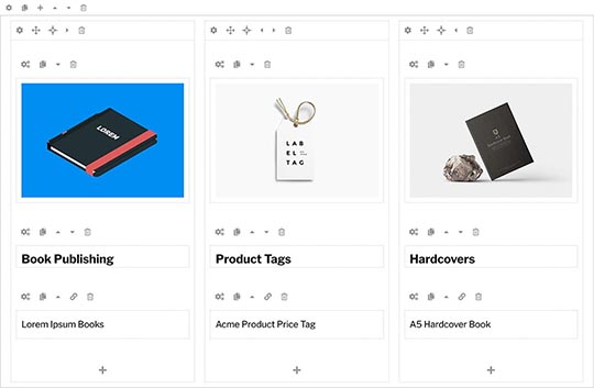 Page builder for Print Shop template