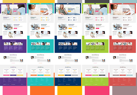 Color schemes of the Psychologist Joomla template