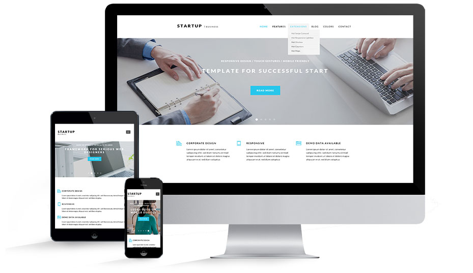 Business startup template joomla templates hotthemes responsive startup business template flashek