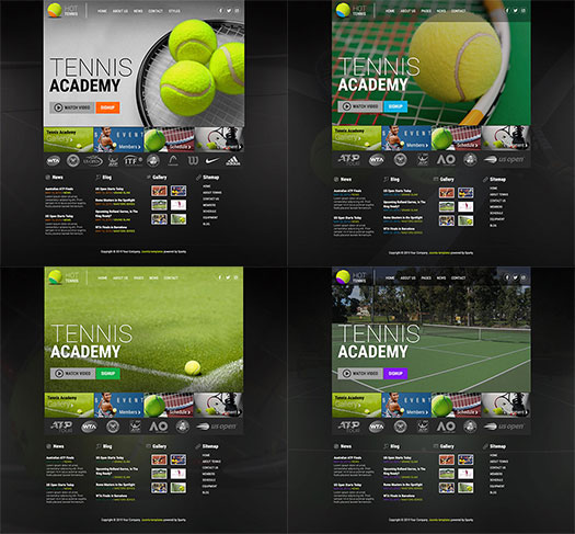 Color schemes of the Tennis Joomla template